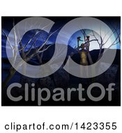 Clipart Of A 3d Graveyard With Zombies Royalty Free Illustration