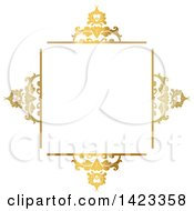 Clipart Of A Gradient Ornate Fancy Golden Floral Frame Design Element Royalty Free Vector Illustration