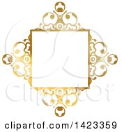 Clipart Of A Gradient Ornate Fancy Golden Floral Frame Design Element Royalty Free Vector Illustration by KJ Pargeter