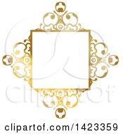 Clipart Of A Gradient Ornate Fancy Golden Floral Frame Design Element Royalty Free Vector Illustration by KJ Pargeter