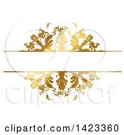 Clipart Of A Gradient Ornate Fancy Golden Floral Frame Design Element Royalty Free Vector Illustration