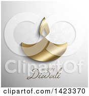 Clipart Of Happy Diwali Text With A Gold Oil Lamp On Gray Royalty Free Vector Illustration by KJ Pargeter