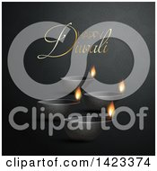 Clipart Of Happy Diwali Text With Oil Lamps On Black Royalty Free Vector Illustration by KJ Pargeter