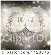 Clipart Of Happy Diwali Text With An Oil Lamp Over Stars And Flares Royalty Free Vector Illustration by KJ Pargeter