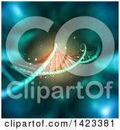 Clipart Of A 3d Dna Background With Glowing Light Royalty Free Illustration