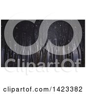 Clipart Of A 3d Dark Foggy Forest On A Snowy Night Royalty Free Illustration