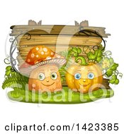 Clipart Of A Wooden Plaque Or Sign Behind Mushroom And Pumpkin Characters Royalty Free Vector Illustration by merlinul