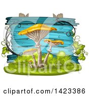 Clipart Of A Blue Wooden Plaque Or Sign Behind Yellow Mushrooms Royalty Free Vector Illustration by merlinul