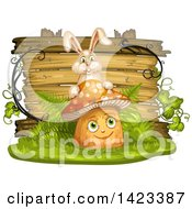 Clipart Of A Wooden Plaque Or Sign Behind A Mushroom Character And Rabbit Royalty Free Vector Illustration by merlinul