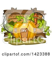Clipart Of A Wooden Plaque Or Sign Behind A Pumpkin House Royalty Free Vector Illustration by merlinul