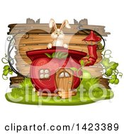 Clipart Of A Wooden Plaque Or Sign Behind A Rabbit And Tomato House Royalty Free Vector Illustration by merlinul