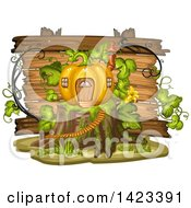 Clipart Of A Wooden Plaque Or Sign Behind A Pumpkin House On A Stump Royalty Free Vector Illustration by merlinul