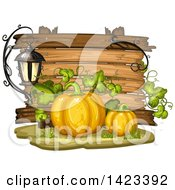 Clipart Of A Wooden Plaque Or Sign Behind Pumpkins Royalty Free Vector Illustration by merlinul