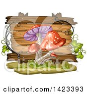 Clipart Of A Wooden Plaque Or Sign Behind Red Mushrooms Royalty Free Vector Illustration by merlinul