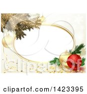 Background Of Gold Tree Branches And 3d Baubles With Stars And An Oval Frame