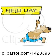 Clipart Of A Cartoon Bear Running With A Field Day Banner Royalty Free Vector Illustration by Johnny Sajem