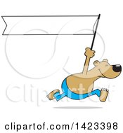 Clipart Of A Cartoon Bear Running With A Blank White Banner Royalty Free Vector Illustration by Johnny Sajem