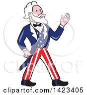 Clipart Of A Retro Cartoon Uncle Sam Walking And Waving Royalty Free Vector Illustration