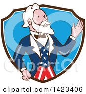Clipart Of A Retro Cartoon Uncle Sam Waving In A Brown White And Blue Shield Royalty Free Vector Illustration