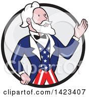 Poster, Art Print Of Retro Cartoon Uncle Sam Waving In A Black And Gray Circle