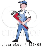 Clipart Of A Retro Cartoon White Male Plumber Or Handy Man Holding A Monkey Wrench Royalty Free Vector Illustration