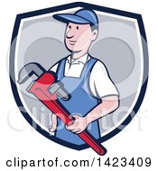 Clipart Of A Retro Cartoon White Male Plumber Or Handy Man Holding A Monkey Wrench Emerging From A Blue White And Gray Shield Royalty Free Vector Illustration