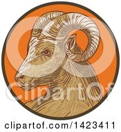 Clipart Of A Sketched Ram Goat Head In A Brown And Orange Circle Royalty Free Vector Illustration
