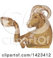 Clipart Of A Sketched Ram Goat Holding A Coffee Cup Royalty Free Vector Illustration by patrimonio