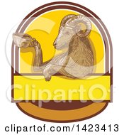 Clipart Of A Sketched Ram Goat Holding A Coffee Cup In A Crest Royalty Free Vector Illustration