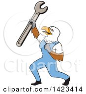 Cartoon Bald Eagle Mechanic Man Holding Up A Spanner Wrench