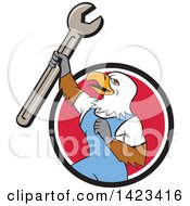 Cartoon Bald Eagle Mechanic Man Holding Up A Spanner Wrench In A Black White And Red Circle