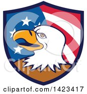 Poster, Art Print Of Cartoon Bald Eagle Head In An American Themed Shield