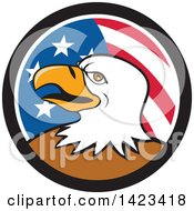 Poster, Art Print Of Cartoon Bald Eagle Head In An American Themed Circle