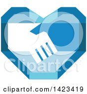 Poster, Art Print Of Retro Blue Heart With Shaking Hands