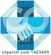 Clipart Of A Retro Blue Cross With Shaking Hands Royalty Free Vector Illustration