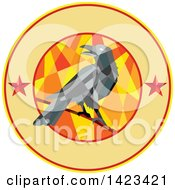 Clipart Of A Geometric Low Polygon Styled Crow On A Branch In A Circle With Stars And Text Space Royalty Free Vector Illustration by patrimonio