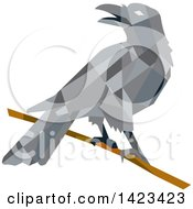 Clipart Of A Geometric Low Polygon Styled Crow On A Branch Royalty Free Vector Illustration