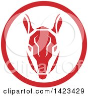 Clipart Of A Retro Red Armadillow Head In A Circle Royalty Free Vector Illustration by patrimonio