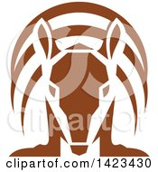 Clipart Of A Retro Brown Armadillo From The Front Royalty Free Vector Illustration