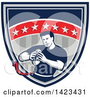 Clipart Of A Retro Male Flag Football Player In A Flag Shield Royalty Free Vector Illustration