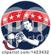 Clipart Of A Retro Male Flag Football Player In A Flag Circle Royalty Free Vector Illustration by patrimonio