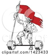 Cartoon Black And White Viking Warrior Holding Up A Red Flag And Resting A Foot On A Barbell
