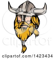 Clipart Of A Retro Blond Male Viking Wearing A Helmet Royalty Free Vector Illustration