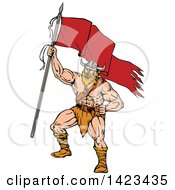Clipart Of A Cartoon Viking Warrior Holding Up A Red Flag Royalty Free Vector Illustration