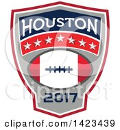 Clipart Of A Retro Super Bowl 51 Houston TX Themed Football Crest Design Royalty Free Vector Illustration by patrimonio