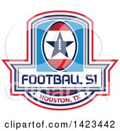 Clipart Of A Retro Football 51 Houston TX Design Royalty Free Vector Illustration by patrimonio