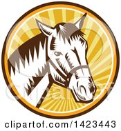 Clipart Of A Retro Woodcut Horse Head Wearing A Bridle In A Sunset Circle Royalty Free Vector Illustration by patrimonio