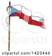 Cartoon Torn Czech Republic Flag