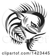 Clipart Of A Black And White Tough Mahi Mahi Dorado Dolphin Fish Skeleton Royalty Free Vector Illustration
