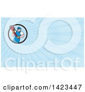 Poster, Art Print Of Retro Cartoon White Male Plumber Or Handy Man Running With A Giant Monkey Wrench And Blue Rays Background Or Business Card Design